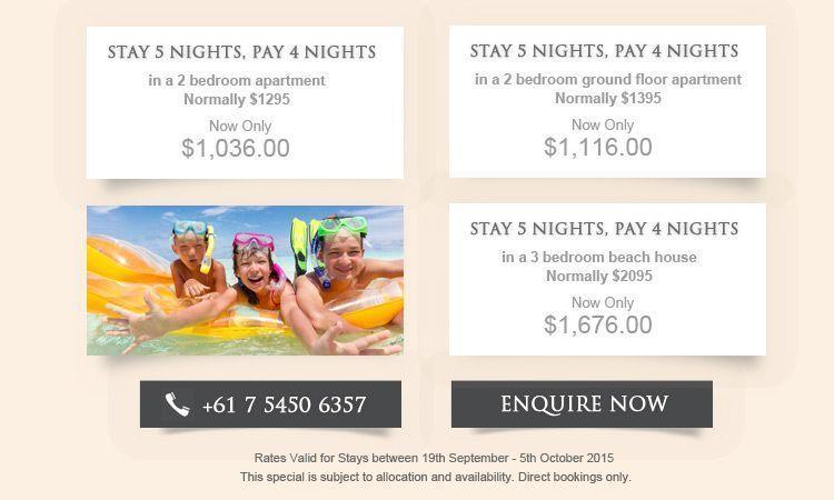 Sunshine Coast accommodation specials