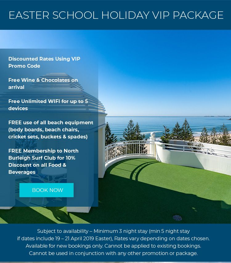 Burleigh Heads accommodation - School Holidays Package